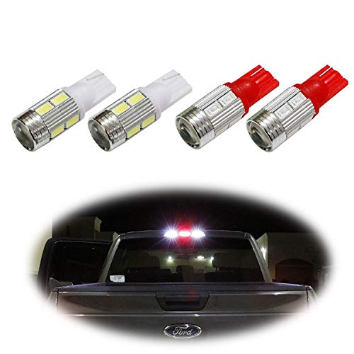 iJDMTOY (4) High Power 10-SMD 921 912 920 168 T10 LED Replacement Bulbs For Chevrolet Ford GMC Honda Nissan Toyota Truck 3rd Brake Lamp (Two Xenon White, and Two Brilliant Red)