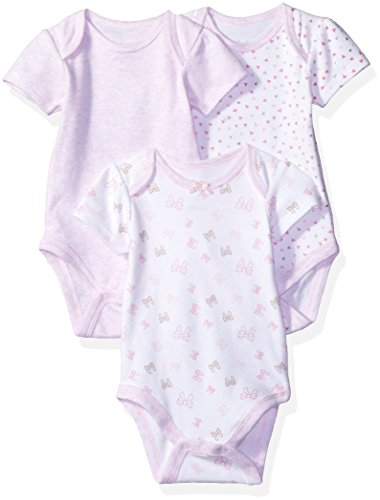 Sterling Baby by Vitamins Baby Girls' Printed and Solid Bodysuits 3 Pack Set, Bows, NB