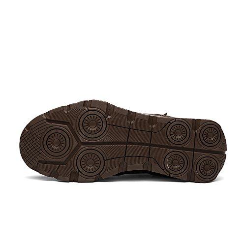 Enllerviid Mens Pu Chaussures En Cuir Slip-on Cheville Baskets Montantes Bottes De Neige Avec Doublure En Fourrure Marron Foncé