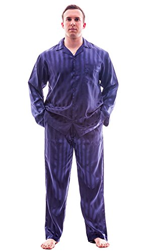 Up2date Fashion Men's Satin PJ Set (Medium, Navy Striped Satin)