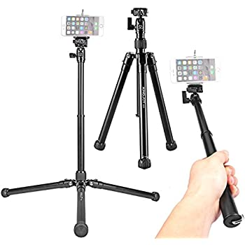Travel Tripod Selfie Stick Stand, Kamisafe P056 Portable Lightweight 5-Section Adjustable Aluminum Camera Video Tripod with Swivel Ball Head for DSLR /Mirrorless Cameras /DV /Cellphones