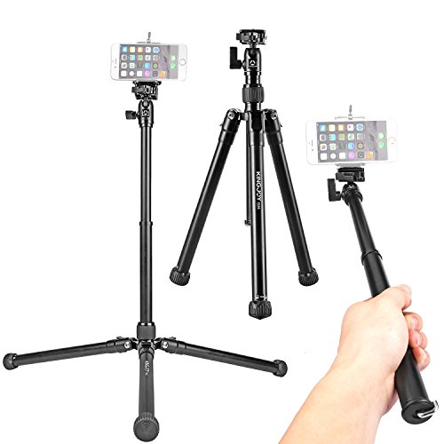 Travel Tripod Selfie Stick Stand, Kamisafe P056 Portable Lightweight 5-Section Adjustable Aluminum Camera Video Tripod with Swivel Ball Head for DSLR/Mirrorless Cameras/DV/Cellphones by Kamisafe