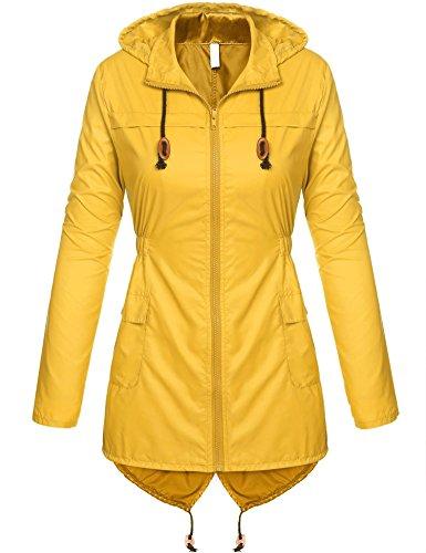 Women's Lightweight Packable Outdoor Coat Windproof Hoodies Rain Jacket Yellow -