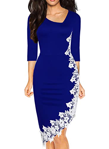 Drimmaks Women's Blue Pencil Tea Dress Asymmetric Neck 3/4 Sleeve Stretchy with White Lace Hi-Low Hem Bodycon Cocktail Dresses (023-Royal Blue 3/4, M)