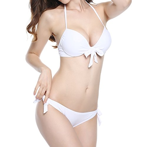 NEOSAN Halter Triangle Padded Top Bikini Set Swimwear Swimsuit Molded White S