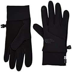 Update us all on your next adventure with The North Face® Etip™ Gloves. Etip thumb and index finger allow for phone or MP3 player operation.  The North Face® branding on the front.  Extra silicone gripping on the palm.  Lock clip system for e...