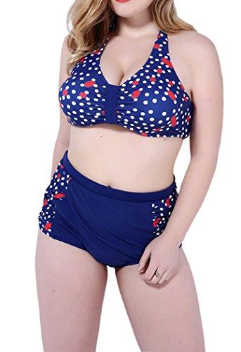Booty Gal Two Piece High Waist Polka Dot Plus Size Halter Bikini Swimsuit(SIZE XXXXL/BLUE)