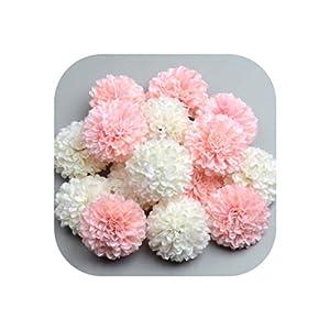 50Pcs 5Cm Artificial Pompom Pink White Silk Flowers Head Hydrangea Home Wedding Decoration DIY Scrapbooking Fake Flower Wreaths 16
