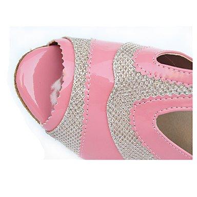 XIAMUO Anpassbare Damen Tanzschuhe Latein/Tap/Modern/Samba Kunstleder Stiletto Heel Schwarz, Schwarz, EU/US8.5 39/UK6.5/CN 40