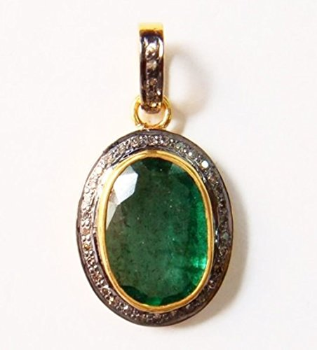 Rose Cut Natural Diamond 925 Sterling Silver Oval Pendant Handmade Emerald Gold Finish Mother's Day Gift Jewelry