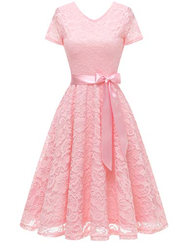 Bridesmay Women V Neck Floral Lace Cocktail Party Bridesmaid Dress with Sleeves Pink S