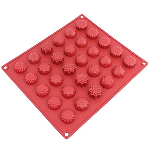 Freshware CB-120RD 30-Cavity Silicone Flower Mold for Making Homemade Chocolate, Candy, Gummy, Jelly, and More