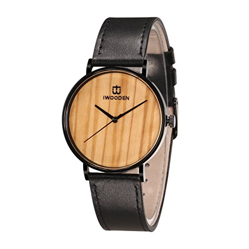 ch Quartz Leather Watch Band Olive Wood Stainless Steel 3ATM Waterproof Christmas Gift Personalized Watch Box for Men (Personalized Stainless Steel Watch)
