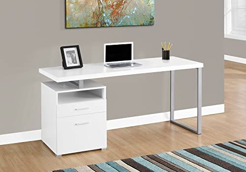 Monarch Specialties I 7144 Computer Writing Desk for Home Office Laptop Table with Drawers Open Shelf and File Cabinet-Left or Right Set Up, 60 L, White