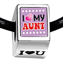 Silver Plated I Heart My Aunt Photo I Love You Bead Charm Bracelets