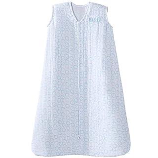 HALO 100% Cotton Muslin Sleepsack Wearable Blanket, Circles Turquoise, Medium