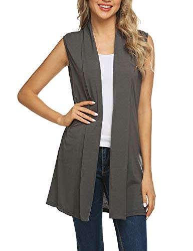 (Beyove Women's Sleeveless Drape Open Front Drape Long Cardigan Vest Grey S…)