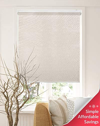 CHICOLOGY Snap-N -Glide Cordless Roller Shades Privacy Natural Perfect for Living Room Bedroom Nursery Office and More, 48 W X 72 H, 2.Felton Sand Natural Woven
