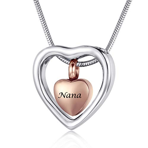Personalized Engrave Beautiful Heart Cremation Jewelry Urn Necklace for Ashes Women,Stainless Steel Memorial Jewelry for Ashes Nana (Nana)
