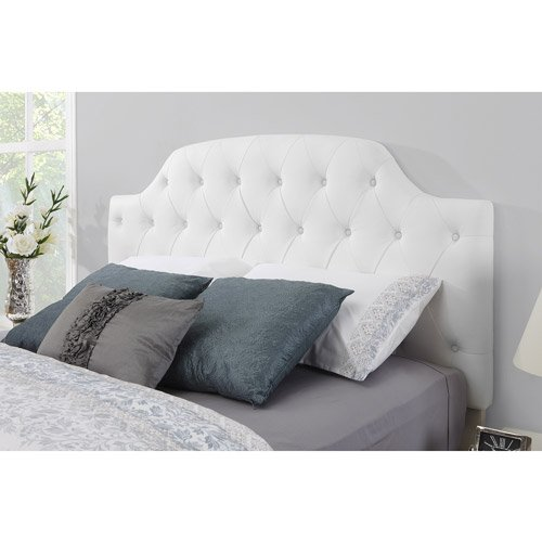 amazoncom white modern button tufted faux leather headboard it accomodates most full and queen size frames this padded bed frame is adjustable to - Full Bed Frame And Headboard