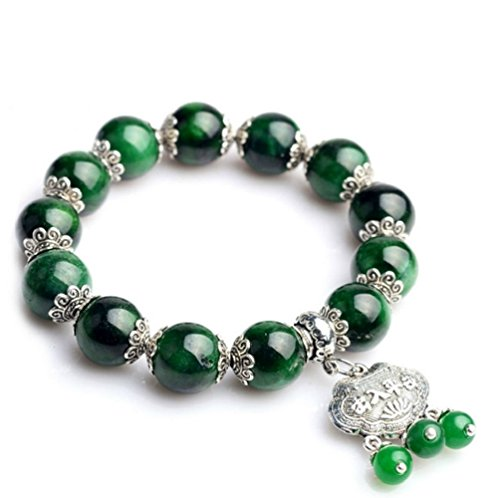 etan Silver Longevity Lock Tassels Pendant Stem Green Jade Beaded Bracelet ()
