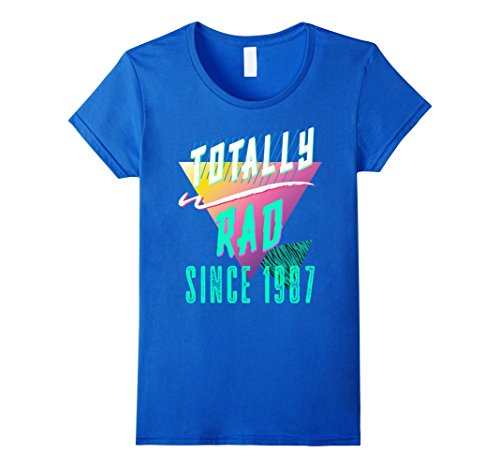 80's Aerobics Costume (Womens Totally Rad 80s Throwback T-Shirt - Funny 1987 Birthday Tee Small Royal Blue)