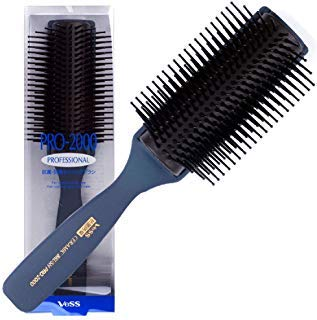 Vess Pro-2000 Professional Hair Brush Tourmaline Ceramic 9 Row Round Tip Curved Pad Anti-static Natural Rubber Specialized Pin Structure