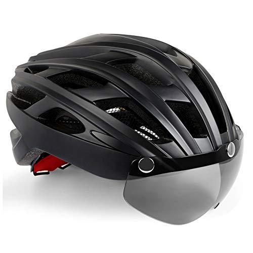 Fietshelm met veiligheidslicht en vizier, KINGLEAD CE-gecertificeerd Unisex Beschermde fietshelm voor fietsen Buiten…