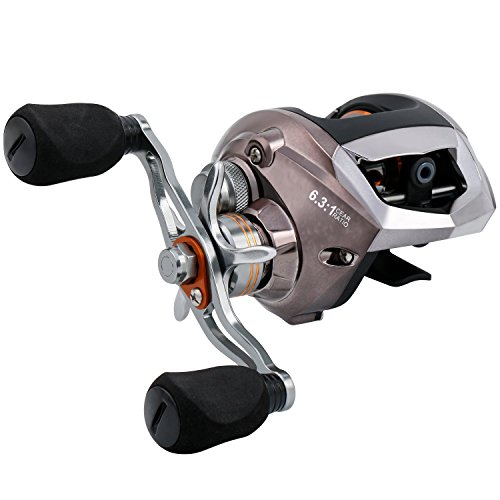 (Sougayilang Baitcasting Reel, Stainless Steel Bearings, Super Drag, Magnetic Tuned Dual Brakes Fishing Reel for Bass, Crappies, Perch, Trout, Walleyes and More)