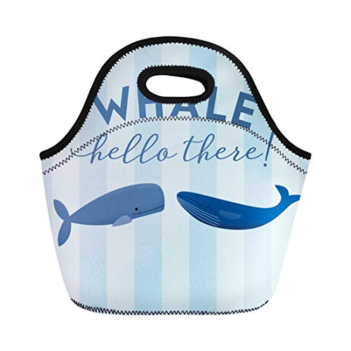 Semtomn Lunch Bags Two Whales Phrase Hello There in Modern Script Great Neoprene Lunch Bag Lunchbox Tote Bag Portable Picnic Bag Cooler Bag