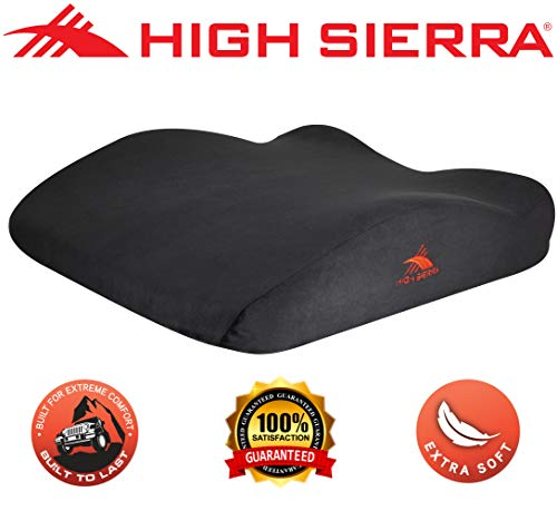 High Sierra HS1432 \ Soft Seat Cushion for Office Chair, Car, Plane \ 100% Pure Memory Foam \ Removable -