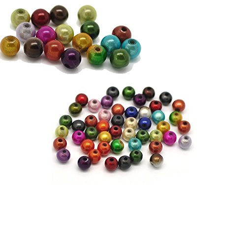 Rockin Beads Mixed Miracle Acrylic Round Spacer Beads 6mm 450 Pack (1.2mm Hole)