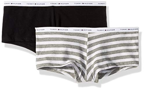 - Tommy Hilfiger Women's Cotton Boyshort Underwear Panty, Multipack, Rugby Stripe White Heather Grey, Black-2 Pack, Medium