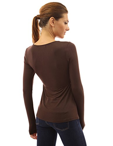 PattyBoutik Mujer v cuello acanalado giro frontal nudo de manga larga túnica marrón