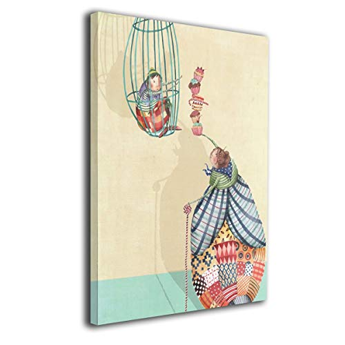 Little Monster A Girl in A Cage Stretched Prints On Canvas Home Decorations Comics Art for Child Bedroom