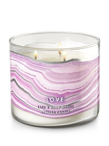 Bath and Body Works Rose Quartz 3 Wick Scented Candle 14.5 Ounce, Love
