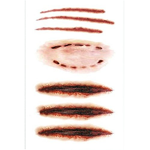 Kangkang@ Set of 5 Fake Scrach/bite Scar Body Tattoo Stickers Waterproof Temporary Tattoos the Wound Scratch Bite Marks Prank Transformation Equipment Tattoo Stickers Fake Tattoo -