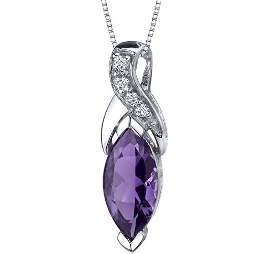 - Amethyst Pendant Necklace Sterling Silver Marquise Shape 1.50 Carats
