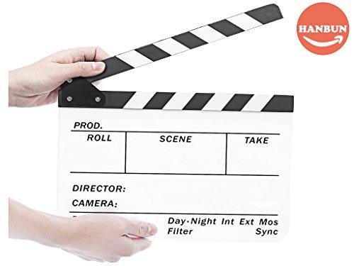 Clapboard, Acrylic Movies Clapboard Professional Black & White Acrylic Clapper Board Slate HO-002 HO-002 by HANBUN