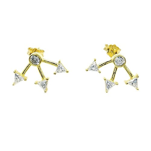 ♥ Three Arrows Gold Vermeil Sterling Silver Cubic Zirconia Stud Earrings ()