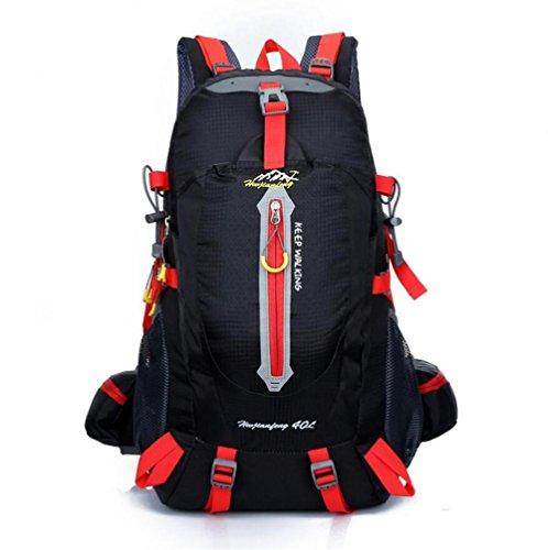 40L impermeable de nylon y las mujeres de los hombres que va de excursión que acampa Mochila Mochila Montañismo Escalada Senderismo ciclo al aire libre se divierte el bolso , black Black