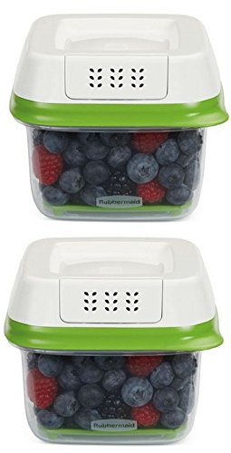 Rubbermaid FreshWorks Produce Saver Food Storage Container, Small, 2.5 Cup,1920480, Green, 2 Pack
