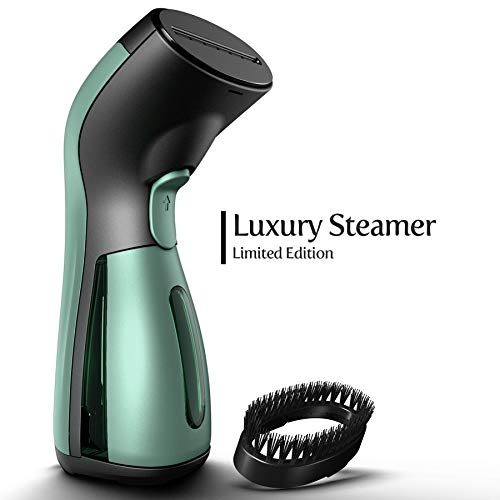 iSteam Travel Garment Steamer [New Luxury Edition] 8 Tasks-in-1: Powerful Garment Ironing. Handheld Steam Iron. Dry Steam. Sterilize. Refresh and More. for Home/Travel. Curtain. Dress [MS208 Green]