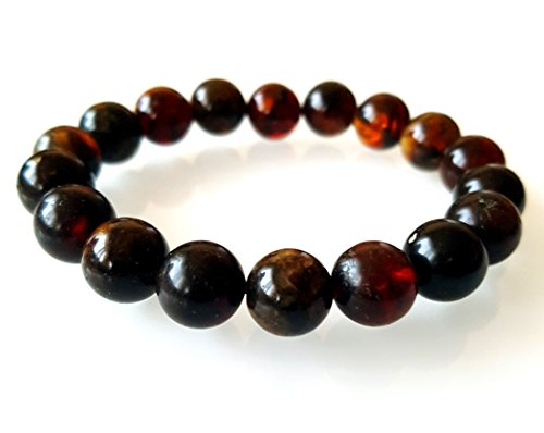 Mens Unisex 10 mm Natur Amber Stone Beaded Bracelet / Healing Energy Balance Beads / Stretch Beaded Bracelet / Yoga Reiki Prayer Stone