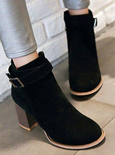 Easemax Kvinna Elegant Faux Mocka Sido Dragkedja Låg Klack Boots Svart