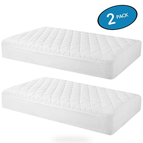 "MoMA Waterproof Crib Mattress Cover (Set of 2) - 52""x 28"" White Crib Mattress Protector - Soft Fitted Baby Crib Mattress Pad with 9-inch Pocket - Hypoallergenic Polyester Toddler Mattress Pad"
