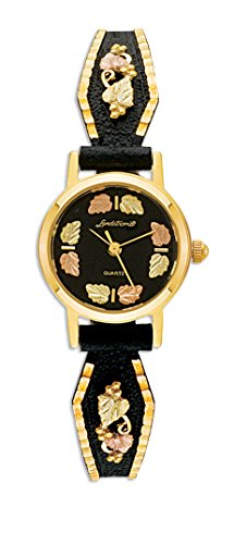 Ladies Black Hills Gold Powder Coated Ladies Watch from Landstroms with 12K Gold Leaves