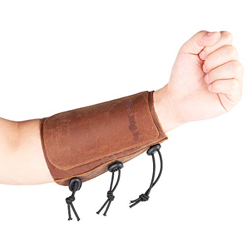 - KRATARC Archery Leather Adjustable Protective Arm Guard for Hunting Shooting Target Practice Bow (Brown)