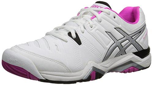 ASICS Women's Gel Challenger 10 Tennis Shoe, White/Pink Glow/Black, 10.5 M US