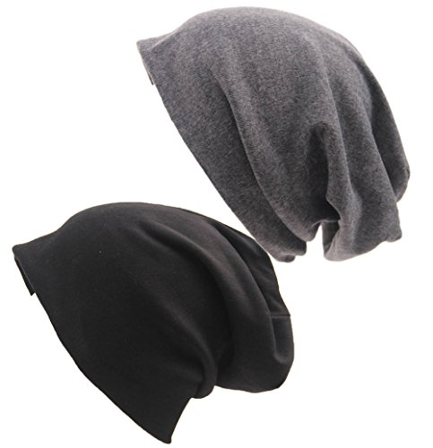 XiFe Unisex Indoors Cotton Beanie- Soft Sleep Cap for Hairloss, Cancer, Chemo (Black+Grey) ()